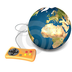 Isolated Earth with gamepad Free Stock Photography