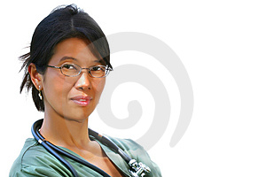 Medico amichevole nel verde sfrega Fotografia Stock