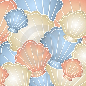 Pastel Seashells Background Stock Images
