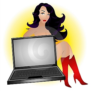 Sexy Female Computer Geek Royalty Free Stock Photography