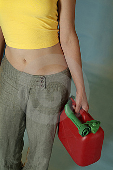 Woman With Jerry Can Stock Images - Image: 2888104