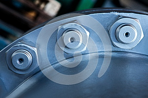 Joint Of Two Flanges By Bolts And Nuts Stock Image - Image: 28814947