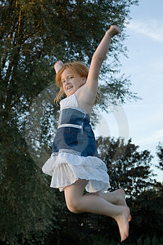 Girl Jumping And Cheering Royalty Free Stock Photos - Image: 2894898
