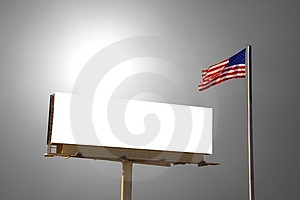 Billboard And American Flag Royalty Free Stock Image - Image: 2895776
