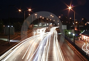 Highway in the night Free Stock Photos