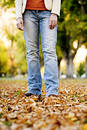Standing in fall Royalty Free Stock Photos