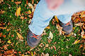 Shoes in fall Royalty Free Stock Images