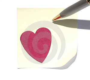 Post-It With A Heart Royalty Free Stock Images - Image: 2917729