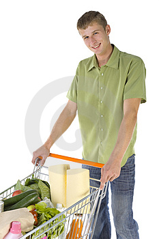 Happy shopping man Stock Image