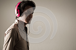 Man  With Headphone On His Head Stock Image - Image: 29103351