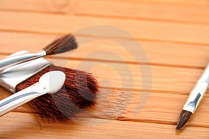 Brosses De Maquillage Sur Le Bois Photos stock - Image: 2923683