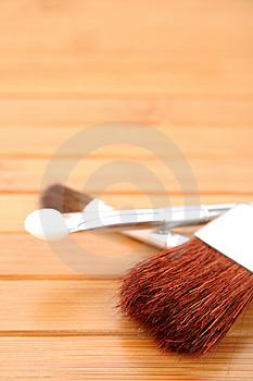 Makeup Brushes On A Wood Stock Photos - Image: 2923703
