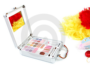 Makeup Briefcase And Feathers Stock Image - Image: 2923731