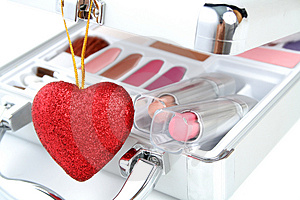 Makeup Briefcase And Heart Stock Image - Image: 2923761