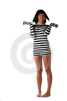 Girl In A Striped Dress Royalty Free Stock Photos - Image: 2931048