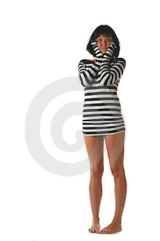 Girl In A Striped Dress Royalty Free Stock Images - Image: 2931049