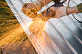 Metal cutting sparks Royalty Free Stock Images