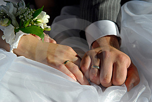 Bride and groom hands Royalty Free Stock Image