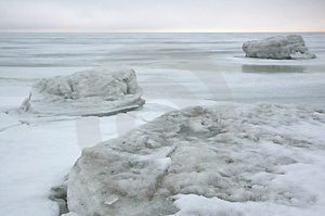 Winter ice sea.white ice Free Stock Photography