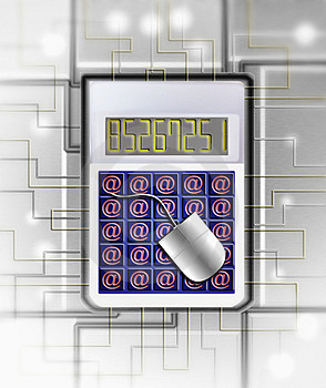 Calculator With Internet Symbo Stock Photography - Image: 2942072
