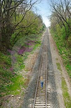 Woman Walking On Train Tracks Royalty Free Stock Photo - Image: 2943035