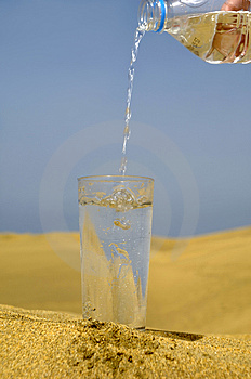 Fresh water and desert Stock Image