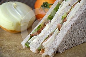 Close Up Bacon And Chicken In Sandwich Stock Photo - Image: 29501200