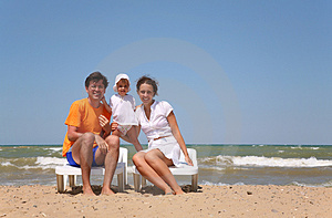 Family on a beach Royalty Free Stock Image
