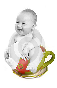 Baby in teacup Stock Image