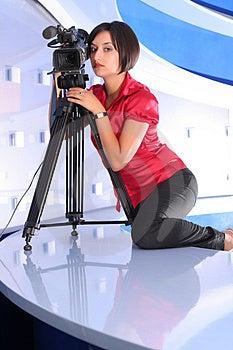 TV Reporter In Studio Royalty Free Stock Image - Image: 2984836