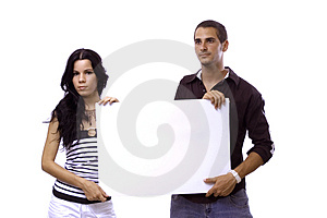 Couple holding blank banner Royalty Free Stock Image