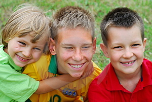 Three happy boys Royalty Free Stock Images