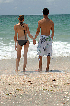 Young beach couple