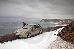 Car In Latrabjarg Stock Image - Image: 2993521