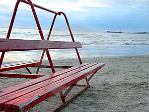 Beach Bench Stock Image