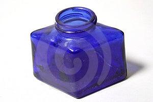 Botella de cristal azul Fotografía de archivo libre de regalías