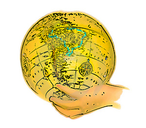 Illustrated Globe In Hand Free Stock Images
