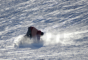Snowboarder Wipeout Stock Photography
