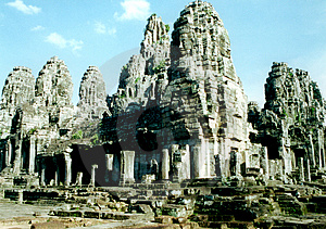 O complexo do bayon em Angkor, Camboja Foto de Stock Royalty Free
