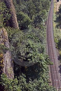 Railroad Tracks Running Past Cliff. Stock Photo - Image: 39400
