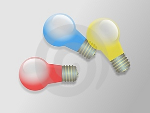 Coloured Light Bulbs Stock Photography