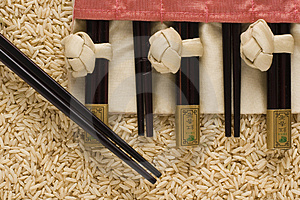 Brown Rice And Chopsticks In S Royalty Free Stock Photo - Image: 3006895