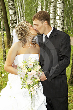 A couple on their wedding day Stock Photo