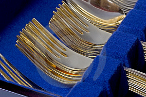 Gold Forks Stacked Royalty Free Stock Photos - Image: 3027798