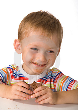 The child with a chocolate Free Stock Image