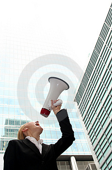 Businesswoman with Megaphone Royalty Free Stock Images