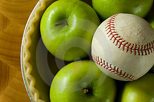 Apple Pie and Baseball Royalty Free Stock Photography