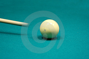Pool Stick Striking Cue Ball Royalty Free Stock Photography - Image: 3046147