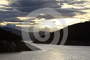 Silhouette Landscape Of Dam North Of Thailand Stock Photo - Image: 30463160