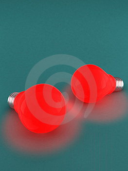 Two red light bulbs